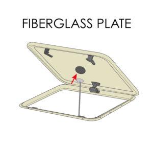 Selvheftende monteringsplate for glassfiberluke