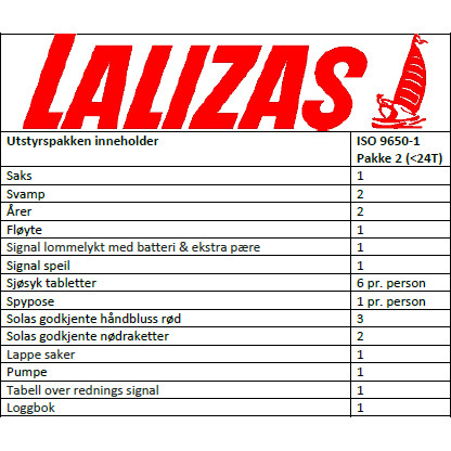 , Redningsflåte ISO 9650-1 – Lalizas, Naumar seil- og båtutstyr